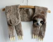 Sloth - felted wool animal scarf