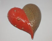 Raised Red Dot & Green Chevron Design Heart - Hand built stoneware clay heart - Designs impressed in clay -Wall Decoration