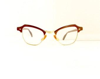 Bausch & Lomb Eyeglasses Frames //Women's 1950's/1960's //Brown Cat Eye Frames //12K GF// #M149