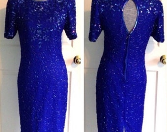 Vintage Dress Blue Beaded Silk sz Small Cocktail Formal Wedding Homecoming Prom Costume 80s 1980s