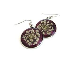 Pressed Flowers, Resin Jewelry, Real Flower in Resin, Purple Earrings, Queen Anne's Lace, Handmade Jewellery, Ocean Petals