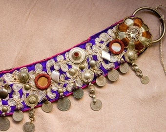 Mauves and White Golds Tribal Fusion Belt  - Purple kuchi coin ATS Belt, Indian Fusion Bellydance Costume Belt, Rennaisance Festival