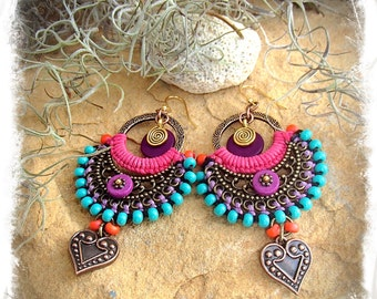 PURPLE Indie earrings BOHO Heart earrings Hop Pink Macrame Bikini jewelry Colorful Summer Turquoise Oriental jewelry festival GPyoga