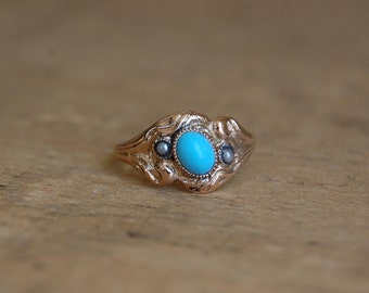 Antique Art Nouveau gold turquoise glass pearl ring ∙ 1910s turquoise ring