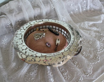 Antique Silver Plate Pairpoint Center Bowl with Pin Cushion Silverplate
