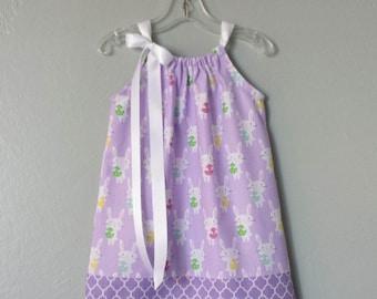 New! Little Girls Purple Easter Dress - White Easter Bunnies on Lavender - Girls Purple Pillowcase Dress - Size 12m, 18m, 2T, 3T, 4T, 5 or 6