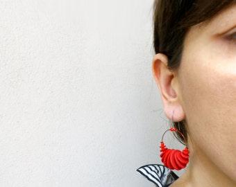 hoop geometric dangle earrings, minimalist contemporary jewelry