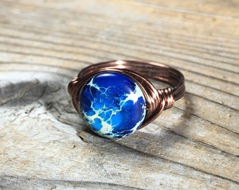 blue imperial jasper gemstone wire wrapped antique copper ring - Size 9 1/2 women men jewelry rustic stone metaphysical handmade jewelry