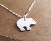Tiny Bear Cub Necklace, Grizzly Bear Cub, Baby Bear, Fine Silver, Sterling Silver Chain, Made To Order