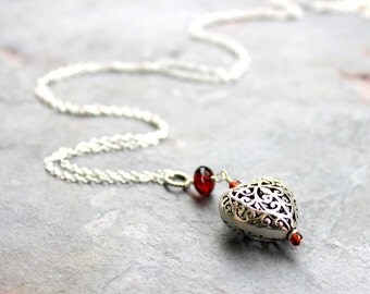 Silver Heart Necklace Garnet Pendant Necklace, Sterling Silver Valentines Jewelry Filigree Gift for Wife