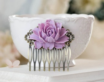 Lavender Hair Comb, Lavender Lilac Purple Wedding Hair Accessory, Bridal Hair Comb, Bridesmaid Gift, Bridal Hairpiece, Lilac Flower Comb