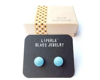 Turquoise Stud Earrings, Light Turquoise Stud Earrings, Fusedglass Murano Glass 8,5 mm Tiny Studs
