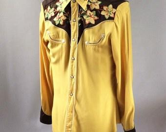 1940s Vintage California Ranchwear Pearl Snap Gabardine Western Shirt Rainbow Chain-Stitch Flowers 15