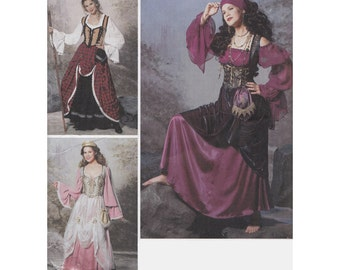 "Womens Pirate Wench Steampunk Maiden Gypsy Historical Costume UNCUT Sewing Pattern Simplicity 9966 Size 6-12 Bust 30.5-34"" Larp, Cosplay"