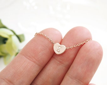 Initial necklace, Heart initial necklace, Personalized necklace, gold heart, silver heart, lowercase initial,bridesmaid gift, rosegold heart
