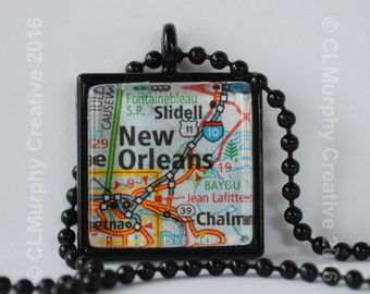 New Orleans Map Pendant Necklace Jewelry New Orleans Louisiana