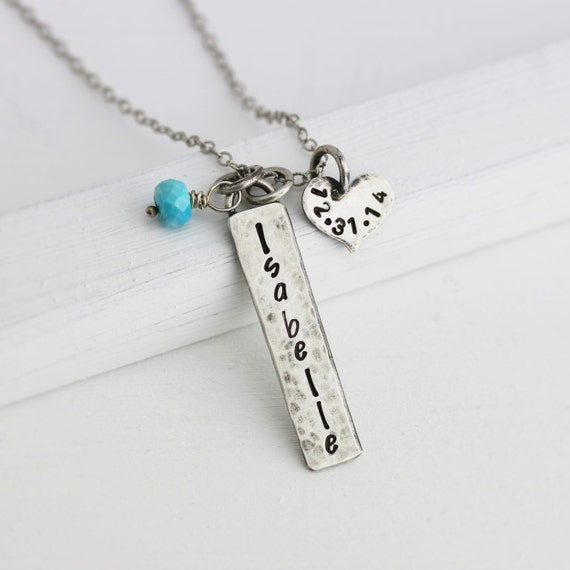rustic personalized necklace new mom necklace sterling. Black Bedroom Furniture Sets. Home Design Ideas