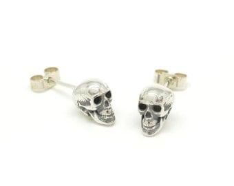 Silver Skull Studs - Skull Stud Earrings - Sterling Silver