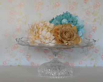 14 inch Cake Stand / Wedding Cake Stand / Glass Cake Stand / Crystal Cake Stand
