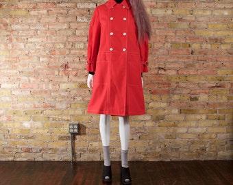 mod 70s rain jacket / mod rain coat / orange coat / vintage trench / womens trapeze / colorblock / bright orange / mod rain coat
