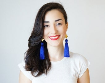 Tassel Earrings Statement Earrings Prom Jewelry Royal Blue Earrings Unique Gifts For Her Tassel Jewelry Geometric Earrings Mom Gift / CHATIO