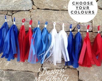 Red, White & Blue Tissue Tassel Garland 2m Birthday, Birthday Decoration