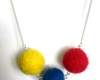 "Handmade Felted Necklace ""Primary"""
