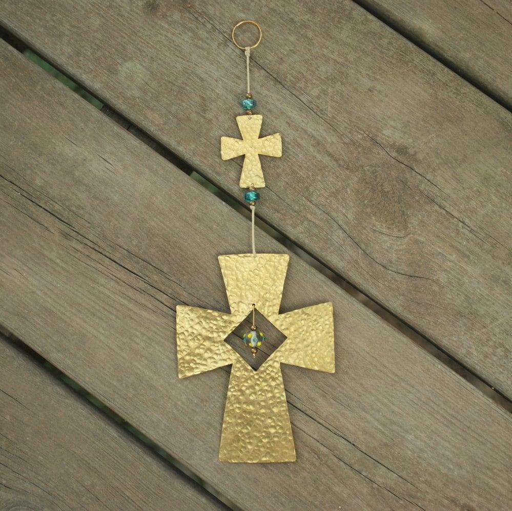 Cross Home Decor Brass Cross Wall Hanging Rustic Metal