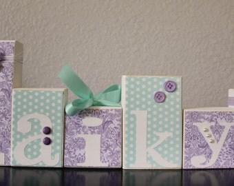 Purple Mint Baby Shower- Nursery Name Blocks- Personalized Wood Blocks- Mint Lavender Nursery Purple Teal Baby Shower Baby Name Letter Block
