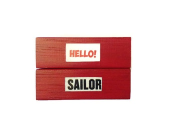 HELLO SAILOR | Fridge Magnets | RED | Retro | Pin Up | Home Decor | Office Magnets | Recycled Gift |  For Her | For Him |
