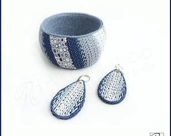 Set Bangle Bracelet and Earrings Blue White Handmade Jewelry Polymer Clay Knitting Style Statement Bracelet, Wearable Art, Ready to ship.
