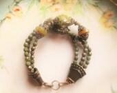 Sage green Picasso bracelet, trending jewelry, boho bracelet, aqua Picasso bracelet, southwestern bracelet, brass bracelet