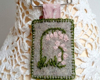 SALE BROOCH- hand embroidered - Bluebells - Pink
