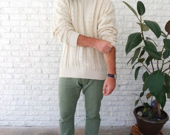 Cream Fisherman's Cable Knit Wool Sweater