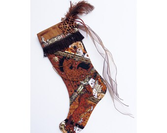 Wild horses Christmas stocking, a custom handmade one-of-a-kind holiday decoration for horse lovers
