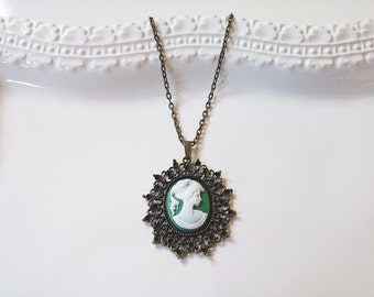 Victorian Lady White Green Cameo Necklace