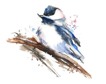 Bird Watercolor Painting Print, Bird Art Print, Chickadee Painting, Bird Print, Animal Wall Decor, Blue Bird on a Branch, Bathroom Wall Art