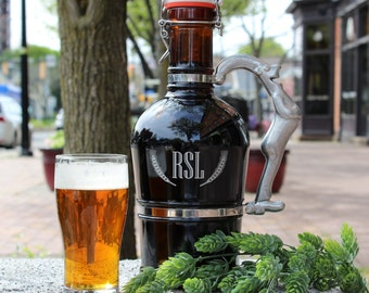 Custom Engraved Beer Growler with Ceramic Flip Top - Real German Growler - Made in Germany * Personalized * Four Handle Choices *