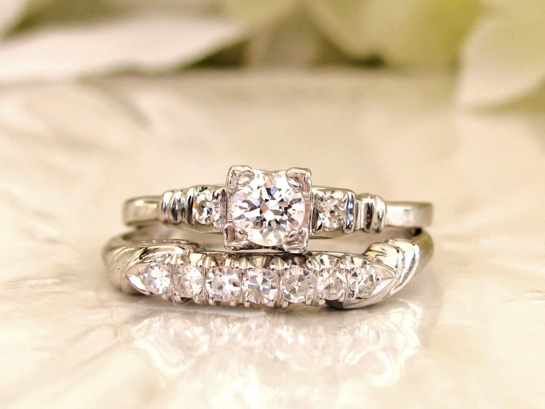 Platinum Engagement Ring Set 0.66ctw Diamond Wedding Ring Set