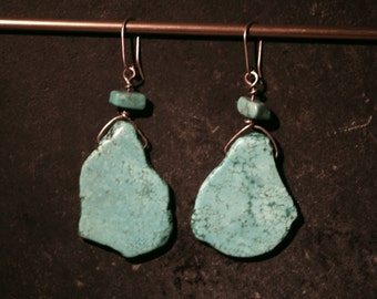 Large turquoise slab earrings with sterling silver