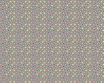 Gray Dots Quilt Fabric, Riley Blake Wheels 2 C5044 Gray, Deena Rutter, Gray, Navy, Red, Green White Dot, Cotton Yardage