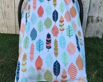 Custom Baby Girl Car Seat Cover Set, Boho Chic Car Seat Canopy, Feathers Carseat Cover, Arrows, Tribal Infant Carseat Canopy, Wood