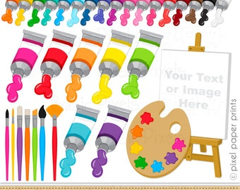 Painting Supplies - Digital Clip Art - Paints and Brushes- Art Party - Personal and commercial use