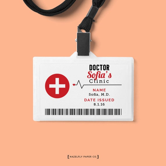 dr name tag template - free printable child identification card kids pretend