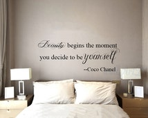 Coco Chanel quote wall decals Beauty begins the moment you decide to be yourself quote wall sticker Inspirational quote wall sticker