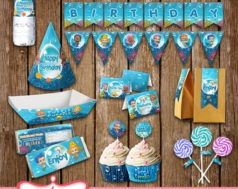 Bubble Guppies Printables, Party Package, Decoration Cards, Download print LL-0070-01
