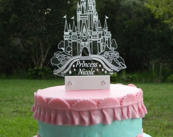 Cinderella inspired Castle Cake Topper with LED light by AcryLEDdesigns