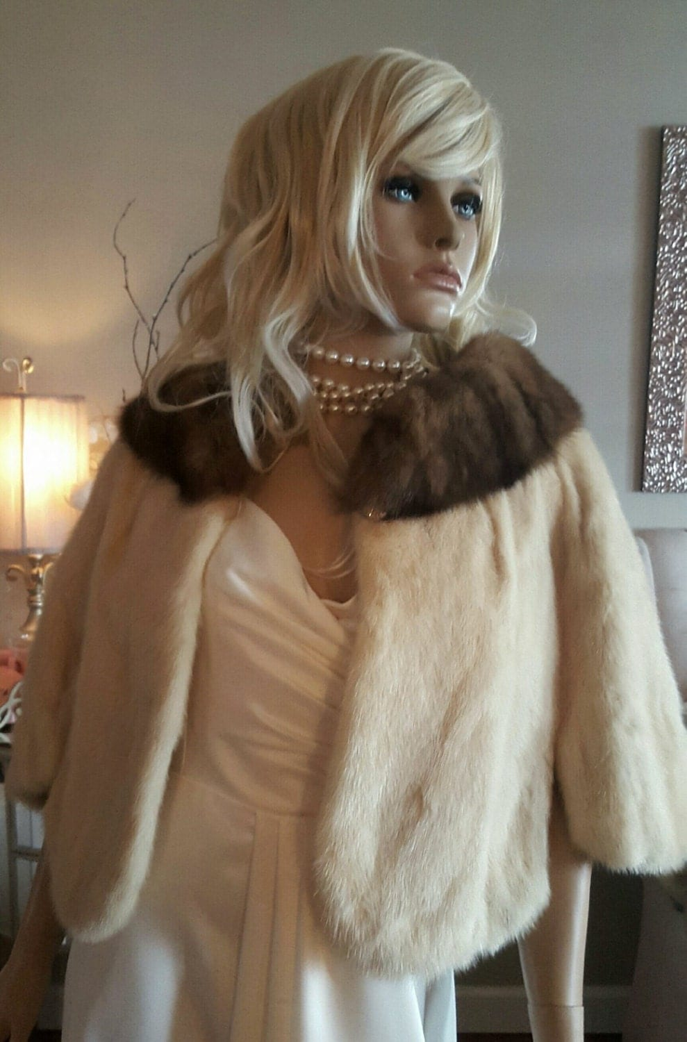 Luxury Vintage Mink and Sable Fur Stole - Fur Cape - Ivory Mink ... for Sable Fur Cape  197uhy