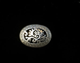 Vintage Mexican Taxco 925 Silver Tribal Aztec Mayan Brooch