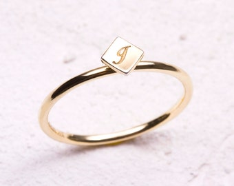 14k solid gold ring, Diamond shaped gold ring, Skinny Solid Gold Initial Stackable Ring, Personalized  Initial Ring